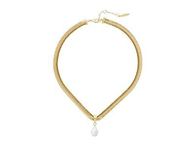 SOLE / SOCIETY 18 Short Pendant (12K Soft Polish Gold/Ivory Pearl) Necklace