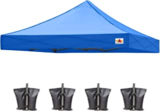ABCCANOPY Pop Up Canopy Replacement Top Cover 100% Waterproof Choose, Bonus 4 x Weight Bags, 8x8 Tent Top Cover(Royal Blue)