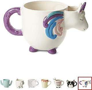 White Ceramic Coffee or Tea Mugs: Tri-Coastal Design Unicorn Coffee Mug with Hand Printed Designs and Printed Saying - 18.6 Fluid Ounce Large, Cute Handmade Cup