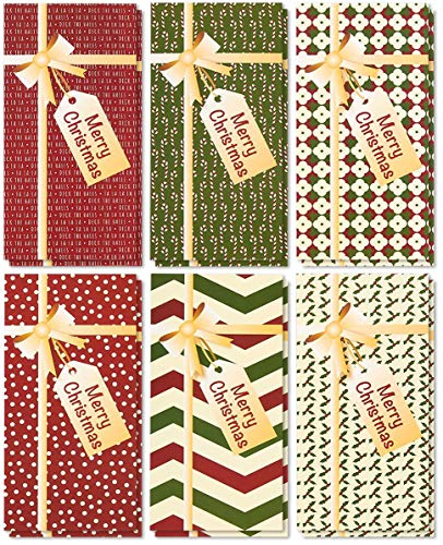 36-Pack Merry Christmas Greeting Cards - Xmas Money and Gift Card Holder Cards in 6 Gift Box Designs, Bulk Assorted Winter Holiday Cards Box Set with Envelopes Included, 3.6 x 7.25 Inches