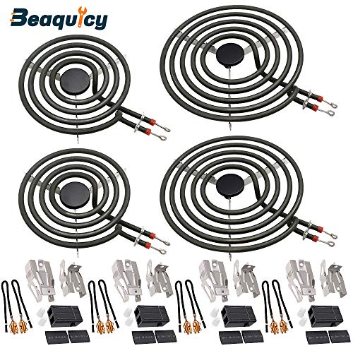 MP22YA Electric Range Burner Element Unit Set(2 pcs MP15YA 6' & 2 pcs MP21YA 8') with 4 Pack 330031 Surface Element Receptacle Kit by Beaquicy - Replacement for Whirlpool Kenmore Ranges/Stoves