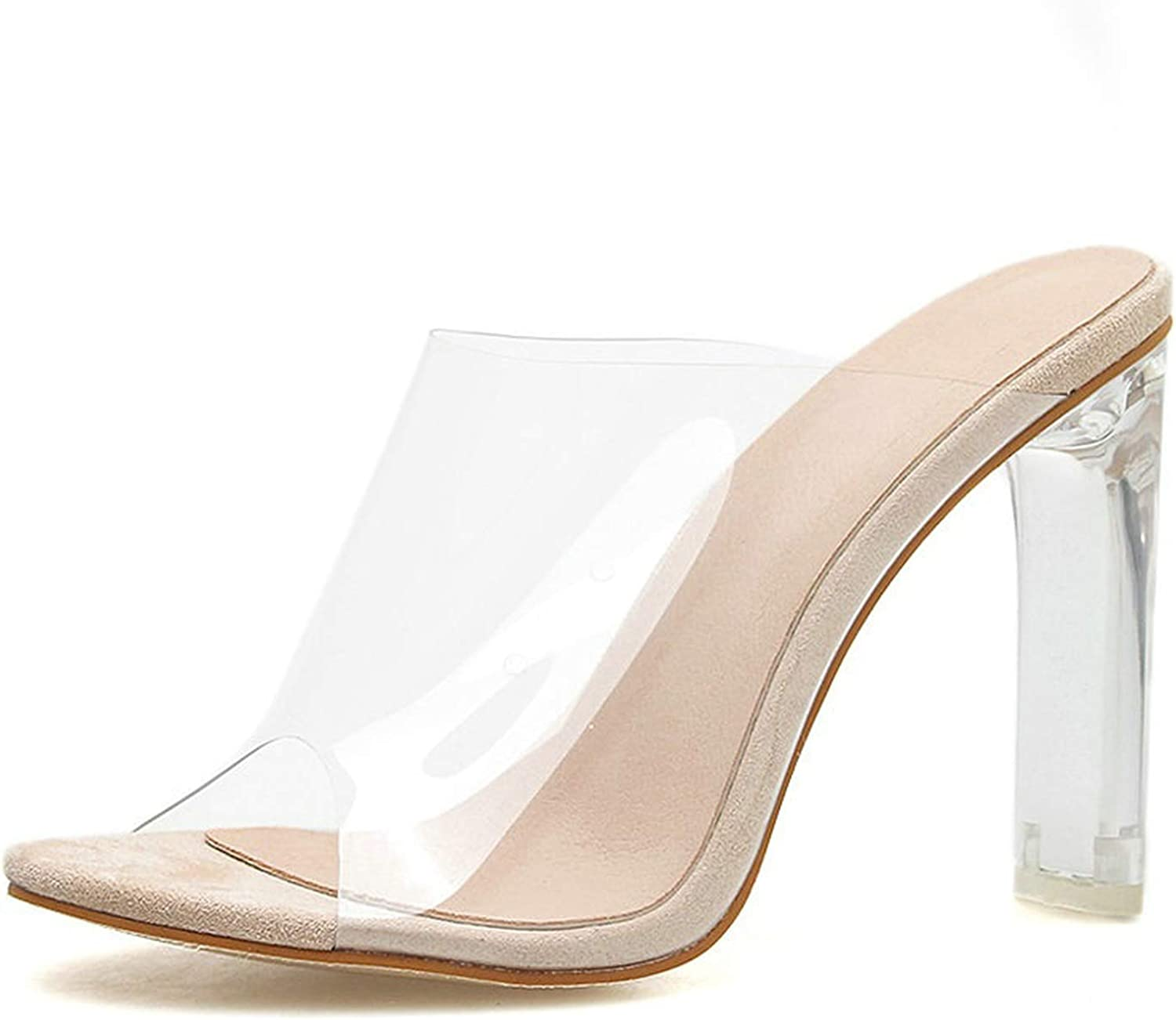 Summer Transparent PVC Women Sandals Open Toe Clear Crystal High Heels Slip On Sandals Dress Ladies shoes