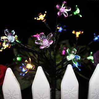 SUPSOO 2 Pack Solar Garden Lights Outdoor DIY Foldable Flower Lights Solar Powered Landscape Lights for Pathway, Yard, Patio, Deck, Walkway, Christmas Decoration - (Multicolor)
