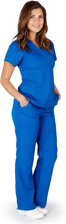 Ultrasoft Premium Mock Wrap Medical Nursing Scrubs Set for Women  Junior FIT