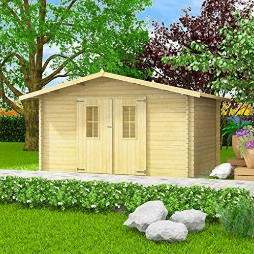 EXJOY - Capannone da giardino, in legno massello, 34 mm, 4 x 3 m