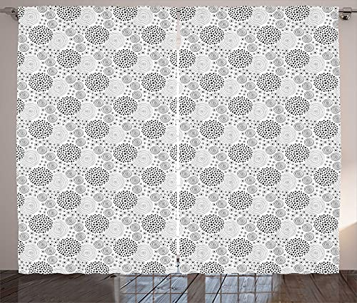 ABAKUHAUS Cortina abstracta rústica de lunares en espiral, para salón, banda universal con trabillas y ganchos, 280 x 260 cm, color gris y blanco