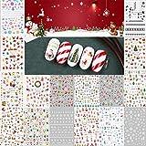 LABOTA 16 Fogli Adesivi per unghie Natale, Natale 3D Unghie Adesivi Nail Art Decalcomanie per DIY Nail Tips decorazioni