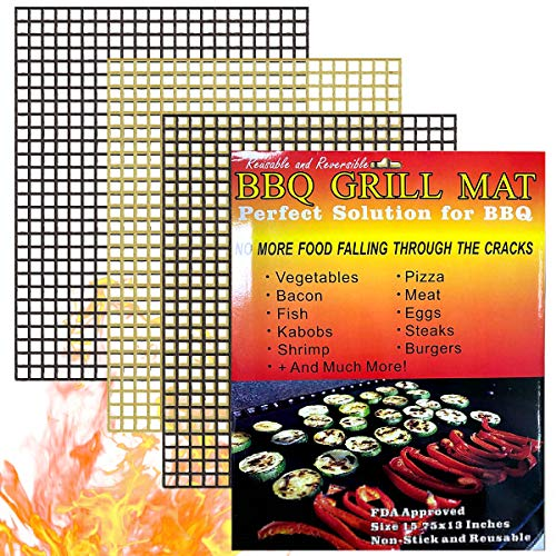MALENOO Grill Mat 3 pcs Non Stick Barbecue Grill Sheet Liners Teflon Grilling Mats Nonstick Fish Vegetable Smoking Accessories - Works on Smoker,Pellet,Gas, Charcoal Grill,15.75x13inches