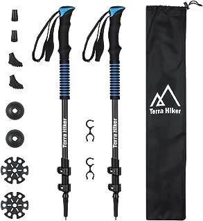 Terra Hiker 100% Carbon Fiber TrekkingPole Set, Anti-Shock Hiking Poles, Lightweight Walking Poles, Collapsible Ski Poles