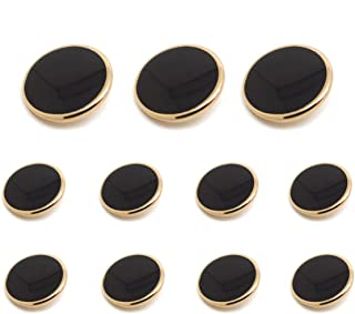 Funcoo 11 pcs Metal Blazer Button Vintage Antique Suits Button Set for Blazer, Suits, Sport Coats, Uniform, Jacket (Black+Gold)