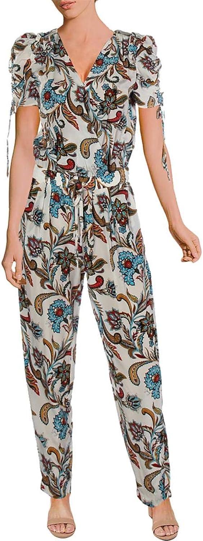 Juicy Couture Black Label Womens Silk Paisley Jumpsuit White XS