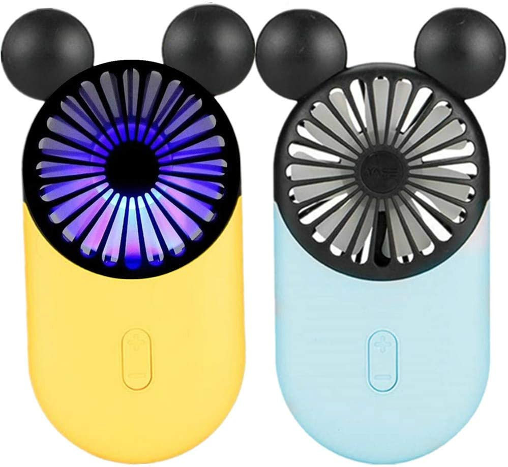 Kbinter Cute Personal Mini Fan, Handheld & Portable USB Rechargeable Fan with Beautiful LED Light, 3 Adjustable Speeds, Portable Holder, for Indoor Outdoor Activities, Cute Mouse 2 Pack (Yellow+Blue)