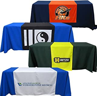 BANNER BUZZ MAKE IT VISIBLE Customize Table Runner Cloth Using Your Text and Logo for Business, Trade Shows, Exhibition, Events, Advertising (2' x 5.67')