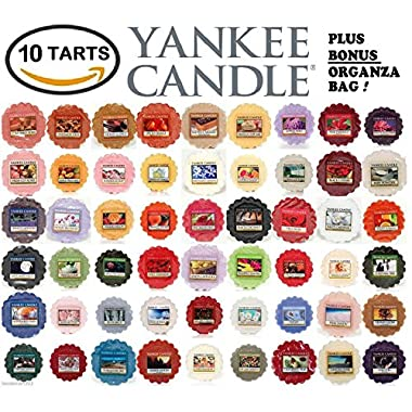 Yankee Candle Wax Tarts - Grab Bag of 10 Assorted Yankee Candle Wax Melts - Random Mixed Scents with BONUS yellow organza bag