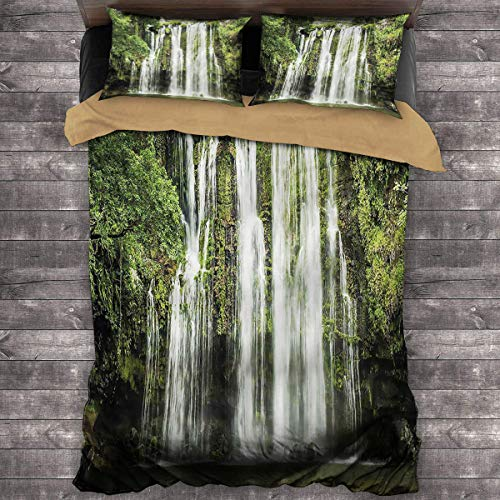 Waterfall Three-Piece Bed Costa Rican Landscape King Duvet Cover 104'x89' inch