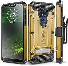 Motorola Moto G7 Power Case, Evocel [Explorer Series Pro] Premium Full Body Case with Glass Screen Protector, Belt Clip Holster, Metal Kickstand for Motorola Moto G7 Power (XT1955), Gold