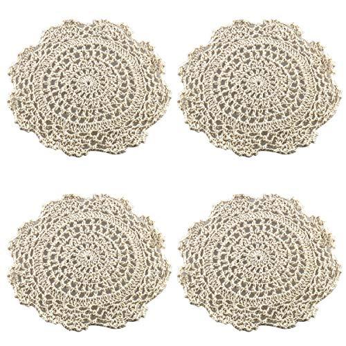 ZRM&E 4pcs Doilies Cloth Lace Crochet Doilies Place Mats Round Handmade Cotton Placemats for Glass Bowl Dish Dining Table Beige