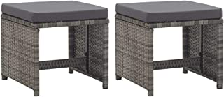 vidaXL 2X Garden Stools with Cushions Outdoor Backyard Patio Balcony Seating Chair Furniture Poly Rattan Anthracite