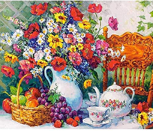 Houten puzzel opvouwbaar,Volwassen kinderen puzzel vaas en fruit stilleven patroon diy houten puzzel uniek cadeau home decor stijl