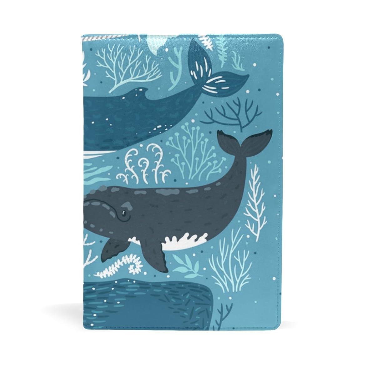 人種壊れた徹底旅立の店 ブックカバー レザー 文庫カバー フリーサイズ 海の生き物柄 イルカ クジラ 上品 おしゃれ 本好きなあなたに 学生 22x15cm