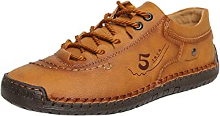 Mens Casual Shoes Leather Loafers Hand Stitching Soft Comfort Driving Shoes Lace-up Oxford Shoes