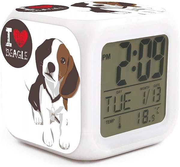 HOTMN I Love Beagle Dog Style Cute Multifunction Digital Desk Alarm Clock With LED Touch Light Desk Watch Table Clock