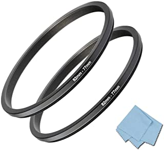 82mm-77mm Step Down Ring [82mm Lens to 77mm Filter] 2 Pack, WH1916 Camera Lens Filter Adapter Ring Lens Converter Accessories