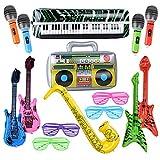 MEJOSER Pack de 15pcs Guitarra Inflable Instrumentos Musicales Juguetes + Gafas Persiana Fiesta Divertidas Disfraz Fiesta Cumpleaños Photocall Piscina Saxofón Micrófono Beth Radio Teclado