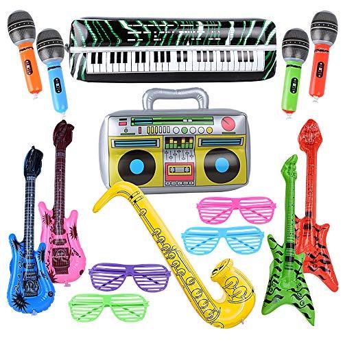 MEJOSER 15 Buntes aufblasbare Instrumente Spielzeug aufblasbare Gitarre Saxophon Mikrofon aufblasbare Beth Lautsprecher Tastatur Shutter Shading Gläser für Party Deko Fotobox Requisiten