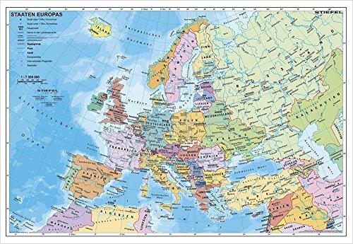 Europakarte Staaten Europas, 95 x 66 cm als Poster