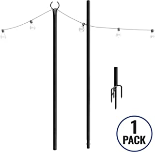 Outdoor String Lights Pole (1 x 9ft) – Sturdy Steel Powder Coated Water-Resistant with Patent 4Prong 8