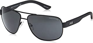 Men's Ax2012s Rectangular Metal Sunglasses