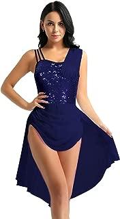 YiZYiF Vestito da Danza Balletto Leotard Classica Ragazza Donna Tutu Tulle Irregolare in Chiffon Spalline Abito da Ballo Dancewear Body Ginnastica Aderente Competizione M-XXL