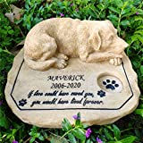 somiss Dog Memorial Stones,Personalized Dog Pet Memorial Stones Grave Markers with A Sleeping Puppy On The Top, 8'×7'×3.5'