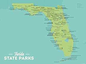Best Maps Ever Florida State Parks Map 18x24 Poster (Green & Aqua)