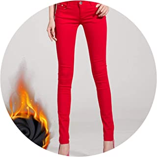 Women's Warm Jeans for Woman Plus Size Candy Color Thick Velvet Winter Warm Jeans,Red,33