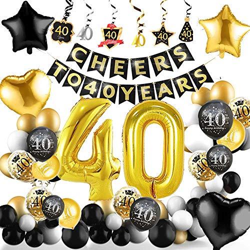 40 años de edad Globos Decoraciones de cumpleaños, Colgantes Swring Streamer Sombreros Decoración de fiesta, Globos de látex impresos en oro negro, Globo para hombres y mujeres adultos