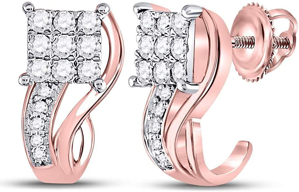 10kt Rose Gold Round Diamond Square Half J Hoop Earrings 3/8 Cttw