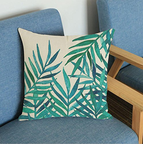 Longless Plantes Tropicales Feuille Verte en Coton Stamp kit Coussin Home décoration Le lit Coussin canapé Fauteuil