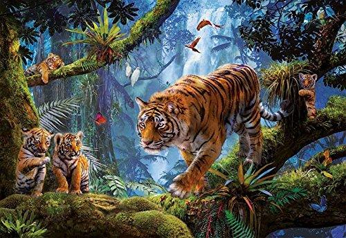 Educa Borras - Genuine Puzzles, Puzzle 1.000 piezas, Tigres en el árbol (17662)