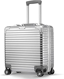 IhDFR Cabin Suitcase,Trolley case- Men and Women Small Trolley Case 18 Inch, Universal Wheel Business Suitcase Stewardess Boarding Suitcase (Color : Silver, Size : 18in) (Color : Silver)