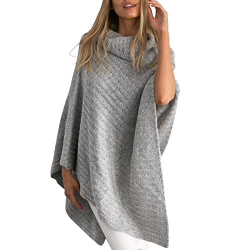 fc360caff Simplee Apparel Women's Chic Turtleneck Knitted Poncho Pullovers Sweater