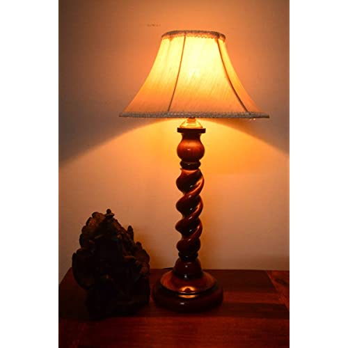 AADHYA CREATIONS Wooden Table Lamp Rope Style (Size: 25.4 x 25.4 x 34.5 cm)