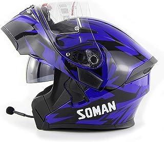 Bluetooth Helm Flip Up Full Face Motorrad Motorradhelm Mit Bluetooth Headset Antifogging Doppellinse Klapphelme DOT/ECE Zugelassen Mann Frauen für ATV/MX/DH/MTB/UTV