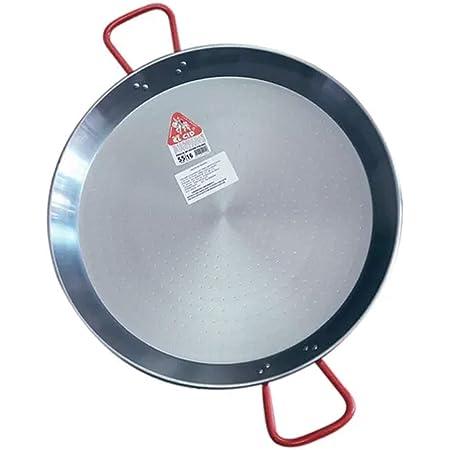 La Ideal - Paellera de acero pulido, Plata / Rojo, 22 cm