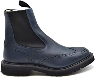 Luxury Fashion | Tricker's Men MCBI38179 Blue Leather Ankle Boots | Season Outlet
