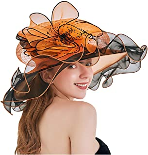COMVIP Women Organza Summer Sun Protection Wide Brim Hat with Flower
