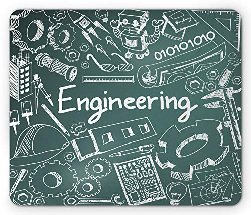 Lunarable Engineer Mouse Pad, Lettering Numbers and Mechanical...