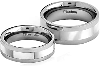 Silver Titanium His & Hers Engagement Wedding Ring Sets Mother of Pearl Inlay
