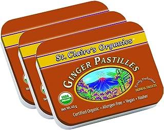 St. Claire's Organics Ginger Pastilles, 1.5 oz Tin (Bundle of 3)